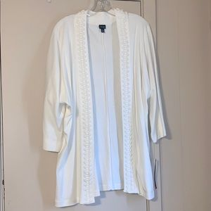Rafaella 1X Ivory Ribbon Detailed Collar Cardigan